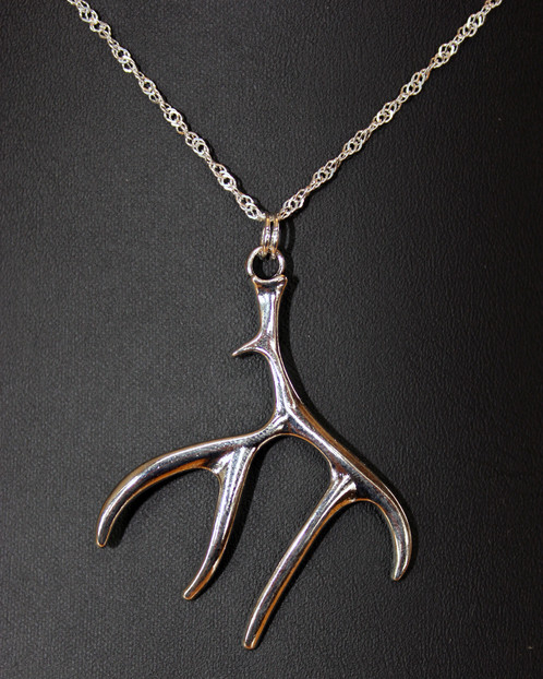 Water wave deer antler necklace legacy huntress womens hunting antler pendant size 15 wide x 2 tall aloadofball Images