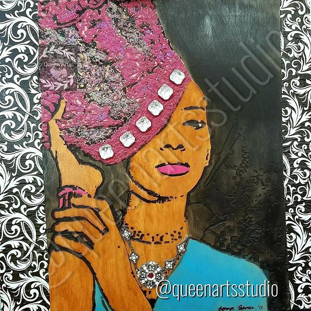 """Pink Crown"" Wood-burning (24x24) #painting #paintings #painted #painter #paints #painterslife #woma"
