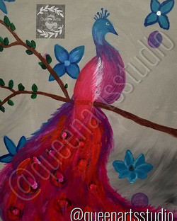 """Peacock"" Canvas Painting (16x20) #painting #paintings #painted #painter #paints #painterslife #woma"