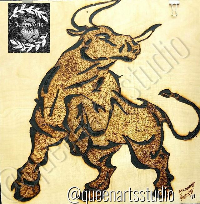 """Taurus"" Wood-burning (12x12) #painting #paintings #painted #painter #paints #painterslife #woman #w"