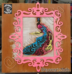 "For sale_ ""Rainbow Peacock"" wood-burning #painting #paintings #painted #painter #paints #painterslif"