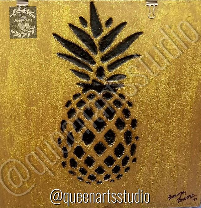 """Golden Pineapple"" Wood-burning (12x12) #painting #paintings #painted #painter #paints #painterslife"