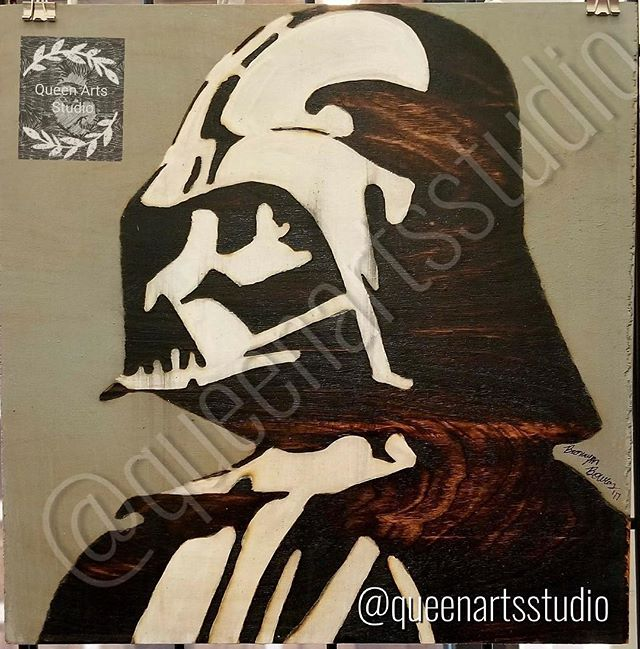 """Darth Vader"" Wood-burning (12x12) #painting #paintings #painted #painter #paints #painterslife #wom"