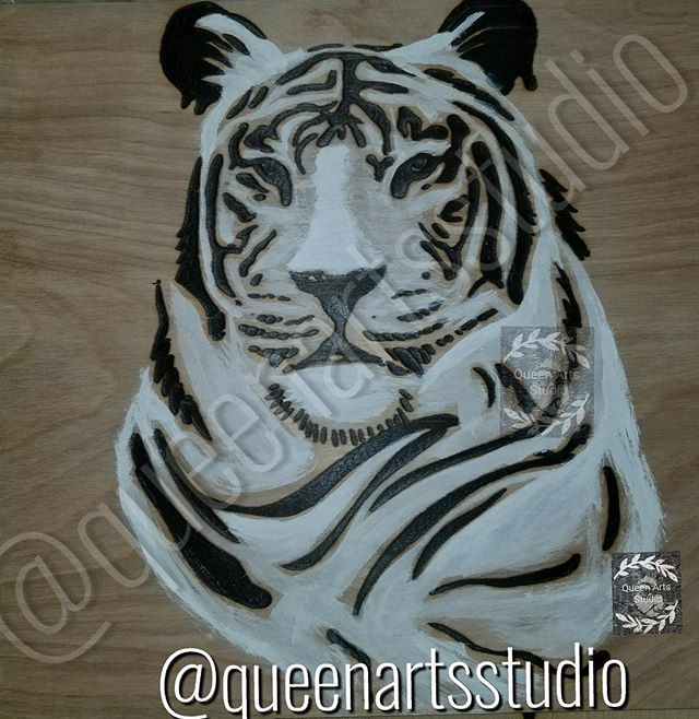 """White Tiger wood-burning"" (12x12)"