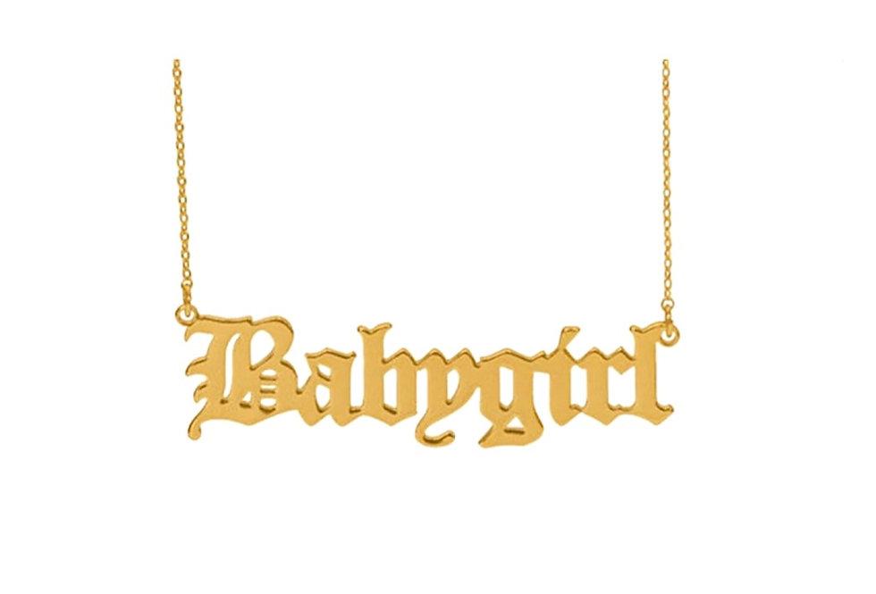 Gold 'Babygirl' Pendant Necklace