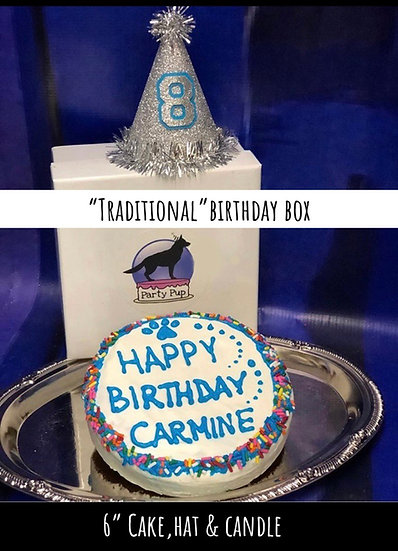 """Traditional Birthday Box 6"""" Cake, Hat & Candle"""