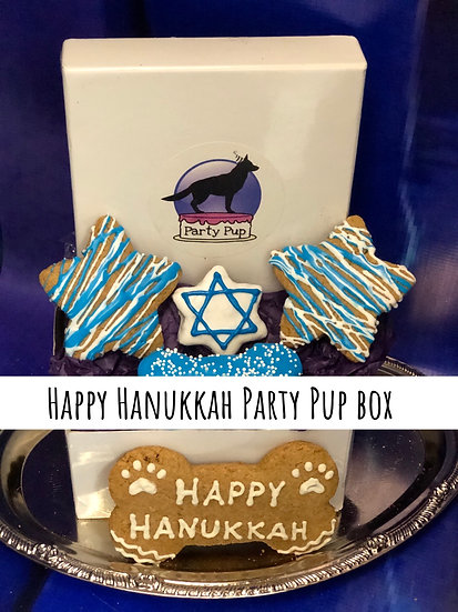 Happy Hanukkah party pup box