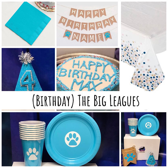 """The Big Leagues Birthday Box 6"""" Cake, Hat, Candle, Sign, Tablecloth, Plates..."""