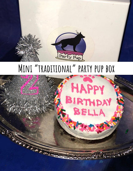 "Mini Traditional Birthday Box 4"" Cake, Hat & Candle"