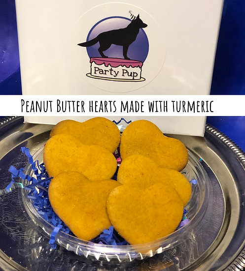 Peanut  Butter hearts made with turmeric.