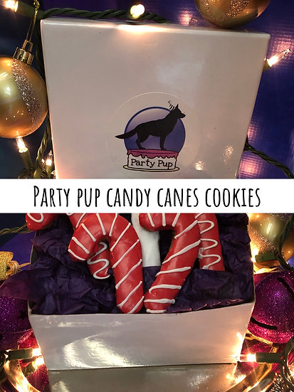 Party pup candy cane cookies