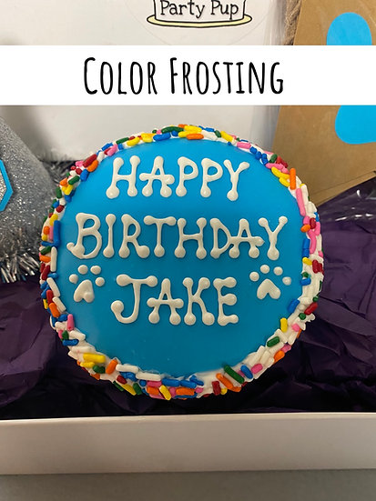 """Color Frosting  4"""" Cake, Hat & Candle"""