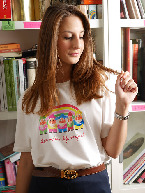 "T-shirt ""Rainbow Gnomes"", bianco"
