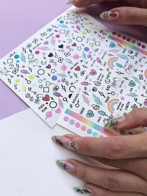 """Nail Decals """"Simple"""" 2 sheets"""