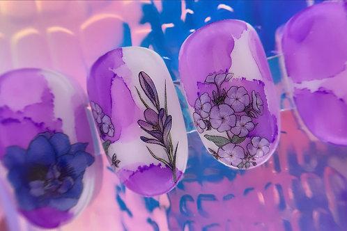 Watercolour Purple Flowers
