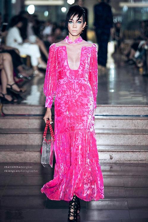 Ruffted Pink Floral-Velvet Maxi Dress