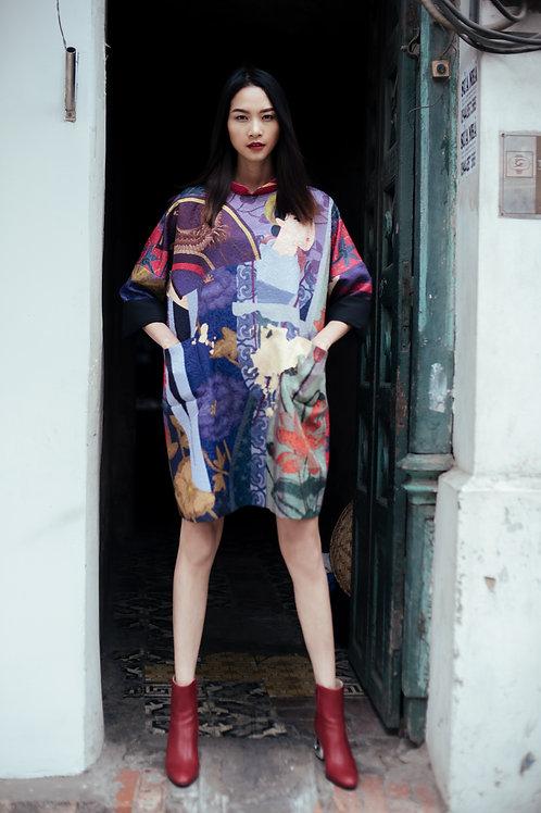 Pattern Printed Purple Brocade Mini Dress