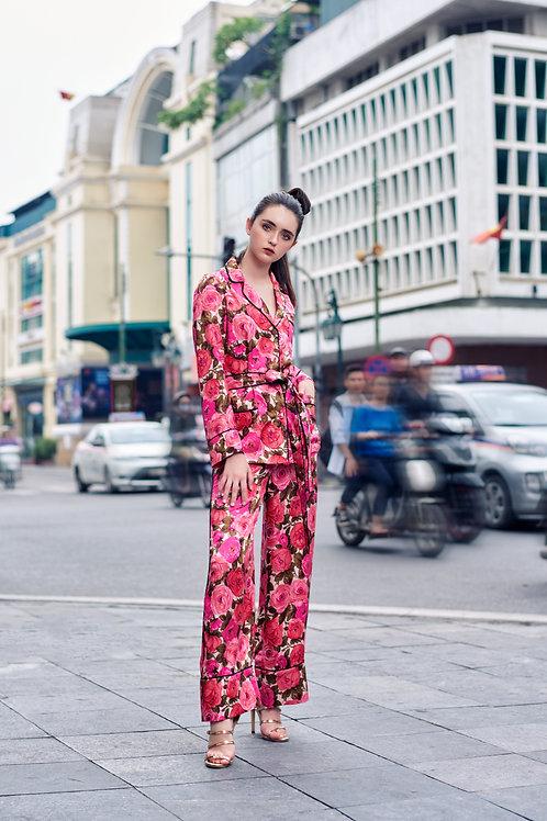 Floral-printed Twill Silk Pyjamas Set
