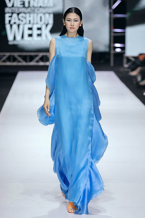 Ruffled Blue Organdy Maxi Dress