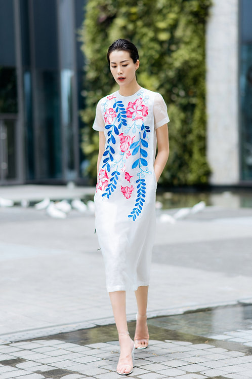 Embroidered White Organza Midi Dress