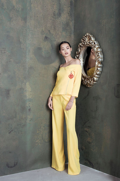 Yellow Crepe Ruby Wide-leg Pants