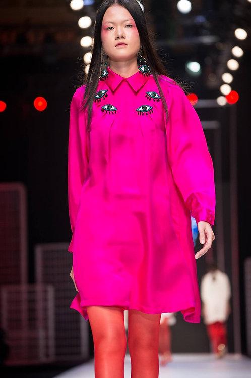 Eye embroidered pink silk-satin midi shirt dress
