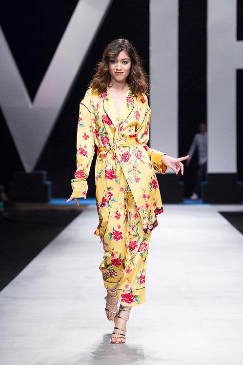 Belted Yellow Floral-Print Satin Pijama