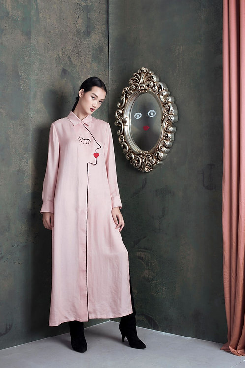 Embroidered Blush Silk-twill Maxi Shirt Dress