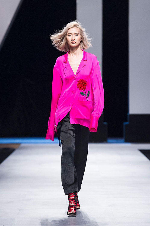 Oversized Embroidered Pink Satin Shirt