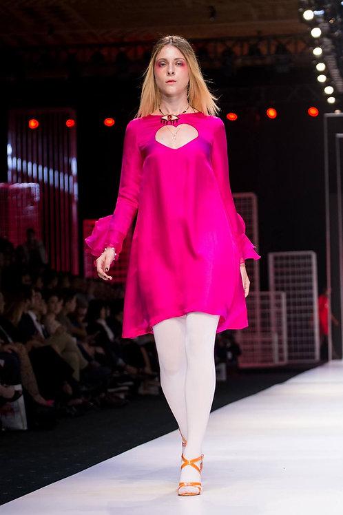 Heart-shaped front cut-out organza-trimmed pink silk-satin mini dress