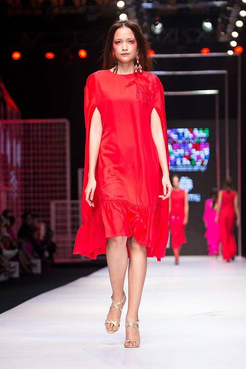 Hand embroidered ruffled red silk-crepe midi dress