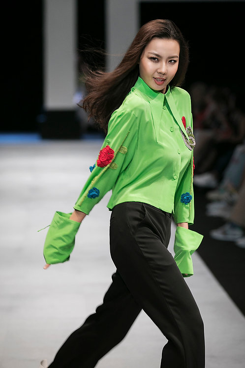 Oversized Embroidered green crepe Shirt