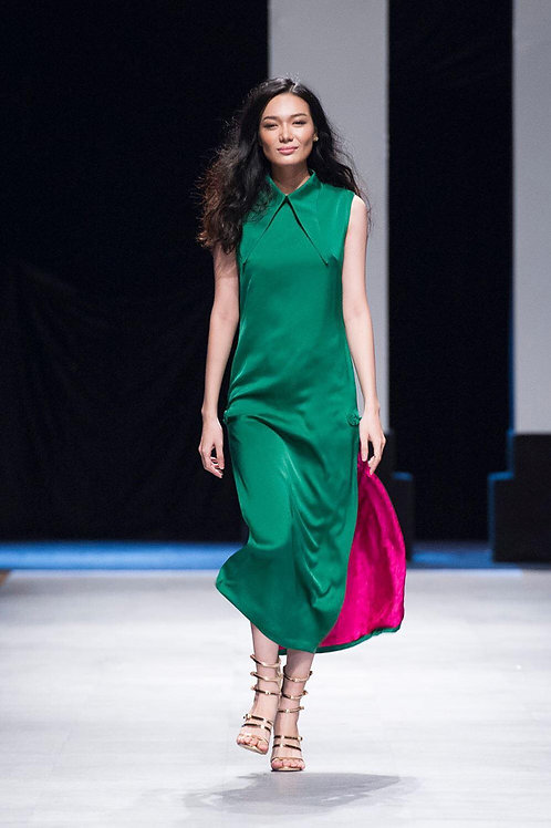 Pleated Green Satin Midi Dress