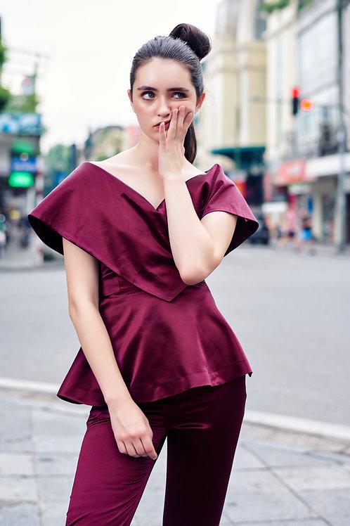 Off-shoulder  V-neck Silk Satin Ruby Blouse