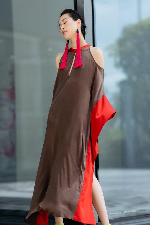 Asymmetric Cold-Shoulder Two-tone Satin Maxi Dress