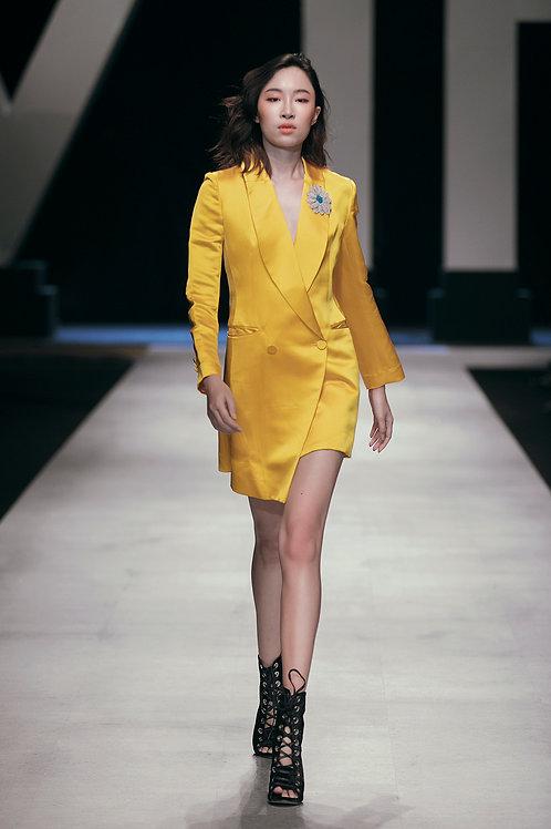 Asymmetric Yellow Brocade Vest Dress