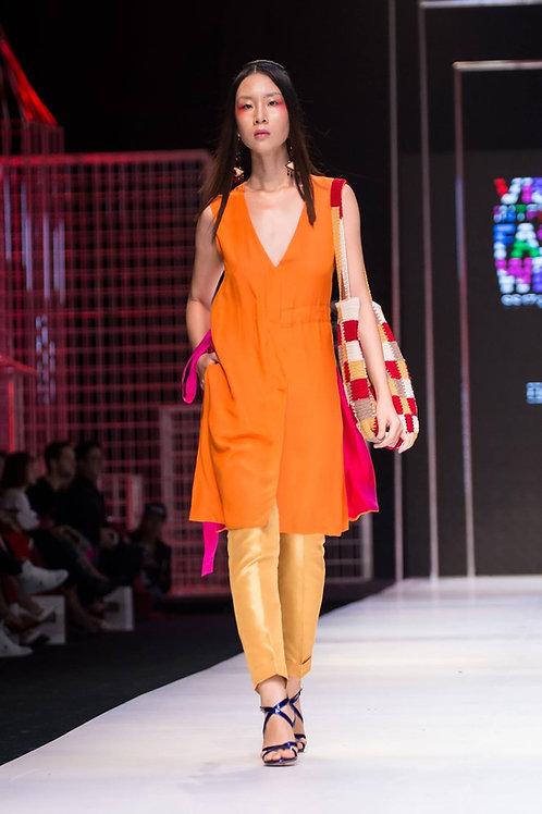V-neck splited orange silk-crepe de chine dress
