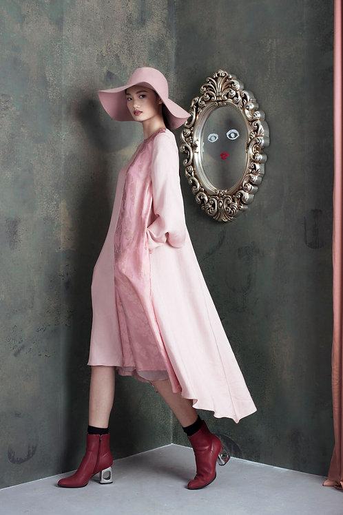 Asymmetric splited Sleeves Two-tone Blush Silk Midi Dress