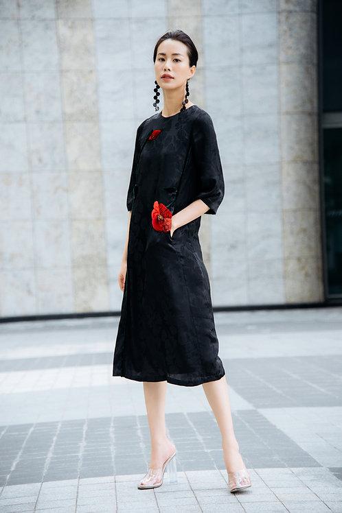 3D Flower Embroidered Silk Midi Dress