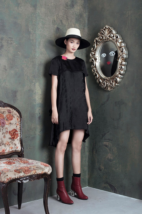 Asymmetric Lips Embroidered Black Silk Mini Dress