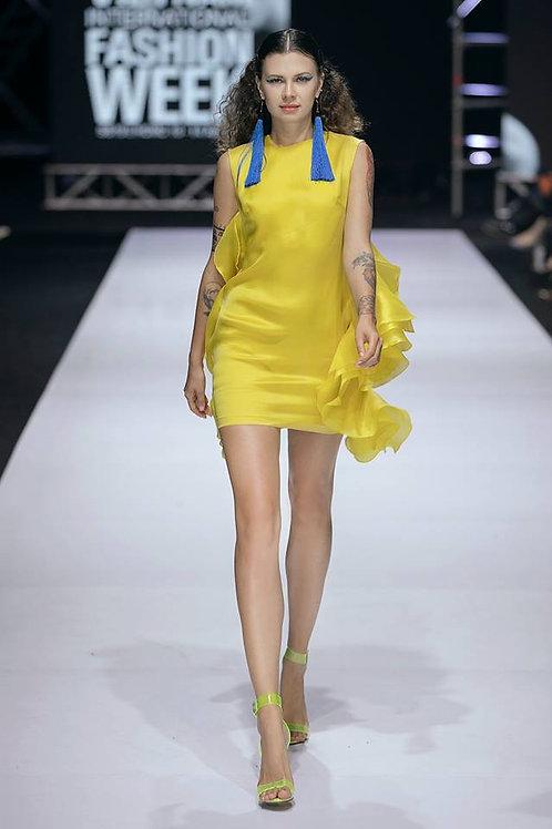 Ruffled Yellow Organza Mini Dress