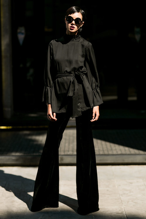 Ruffled & Tied Black Silk Shirt