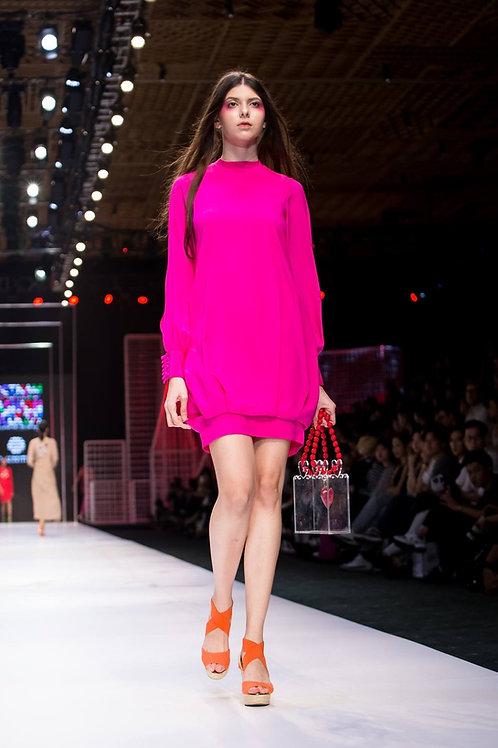Pink crepe de chine bomber dress