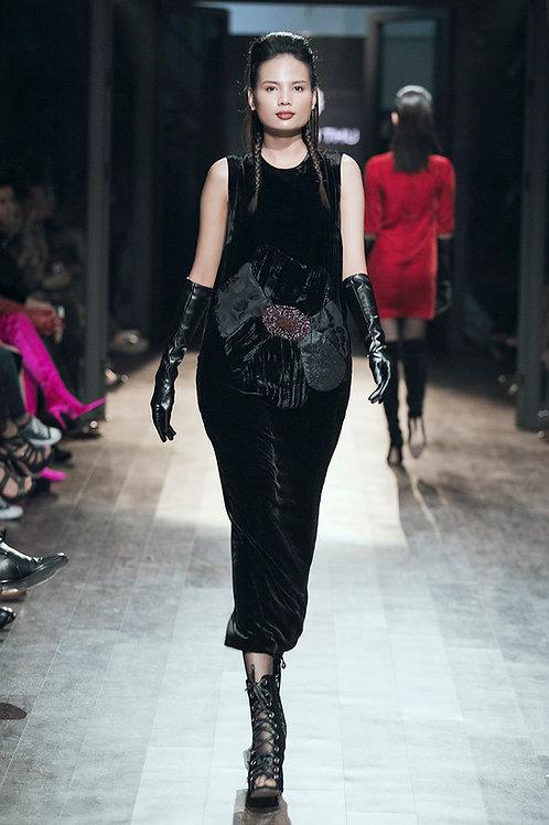 3D Flower Embroidered Black Velvet Maxi Cocoon Dress