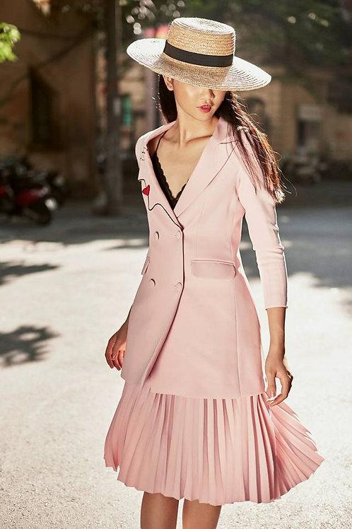 Metallic pleated Blush Ruby-crepe Midi Skirt
