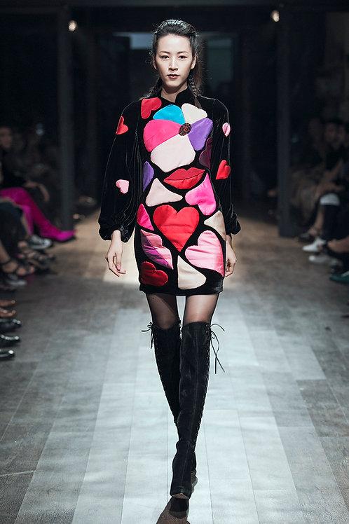 3D Lips Hearts Embroidered Black Velvet Mini Dress