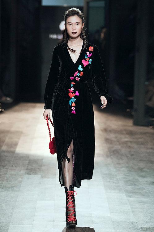 Embroidered Lips, Hearts Black Velvet Kimono Dress