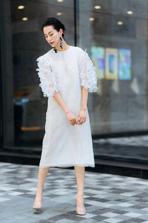 Flower-Embroidered Organza White Midi Dress