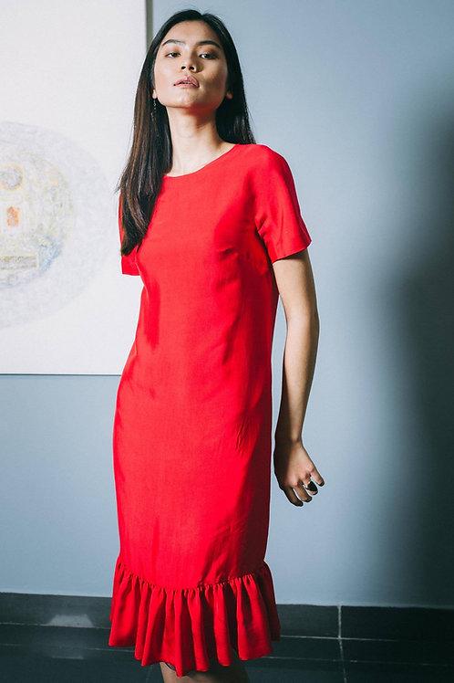 Basic Red Silk Midi Dress