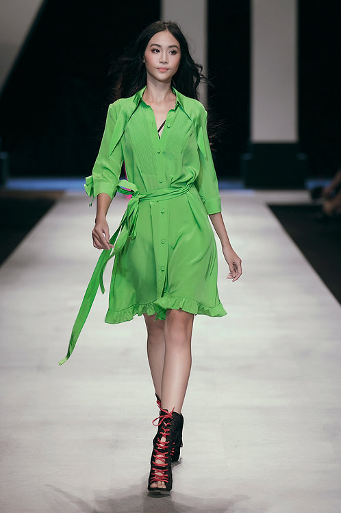 Belted Rufled Light Green Silk Crepe de chine Shirt Dress
